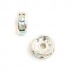 Rhinestone Rondelle (Flat Round) 6mm Crystal Aurora Borealis Silver